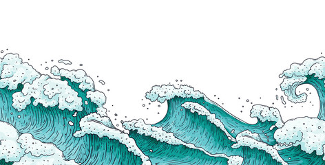 Panel Szklany Morze Dramatic hand drawn stormy sea waves - flat banner isolated on white background.