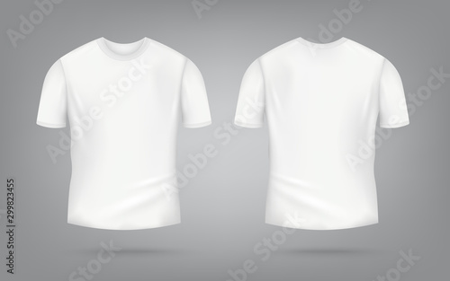 Obraz White male t-shirt realistic mockup set from front and back view on grey background - fototapety do salonu
