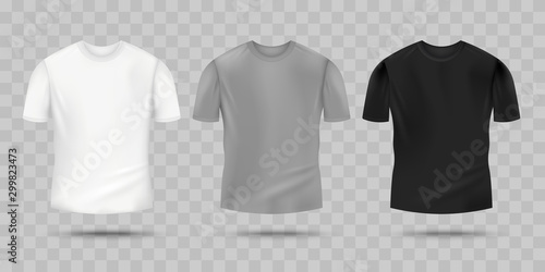 Obraz Blank realistic t-shirt mockup set in white, grey and black color. - fototapety do salonu