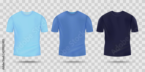 Blue T Shirt Mockup Set In Light Bright And Dark Color Tones