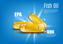 Omega 3 Fish Oil With EPA And DHA - Golden Capsule Of Healthy Vitamins