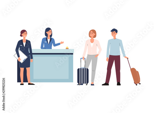 Fotografie, Tablou Hotel reception lobby - cartoon people with luggage checking in with staff