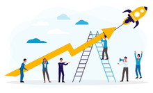 Business Boost Or Startup With People And Rocket, Flat Vector Illustration Isolated.