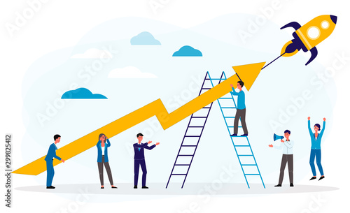 Fotografía Business boost or startup with people and rocket, flat vector illustration isolated