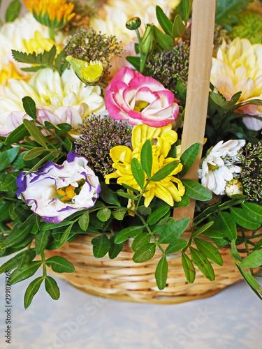 bouquet in a basket