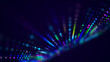 Wave of musical sounds. Abstract background with interweaving of dots and lines. 3D rendering.