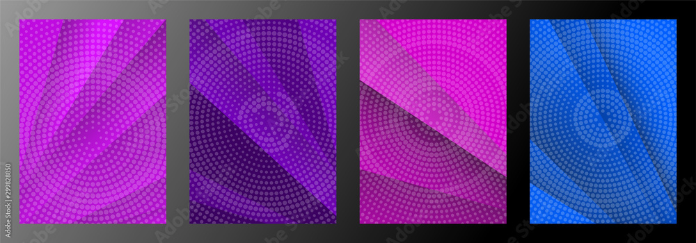 Geometric abstract covers set. Simple overlap with dotted backdrop