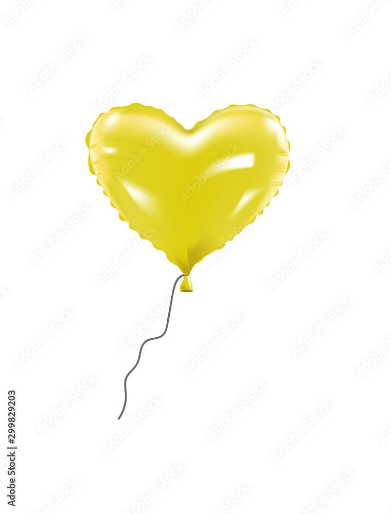 Balon foliowy z żółtym sercem. wektor <span>plik: #299829203 | autor: marijaobradovic</span>