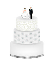 Wedding Cake With Figures. Vec...