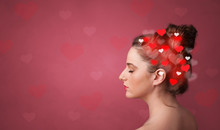 Head With Full Of Love, Red Background And Hearts