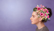 canvas print picture - Blossomed head with colorful flowers and spring concept