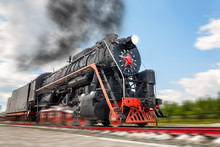 Vintage Steam Train Hurtling A...