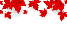 Canada Day Background. Falling Maple Red Leaves Pattern For Design Banner, Poster, Greeting Card For National Holiday Canada Day Celebrate 1st July. Autumn Red Color Leaf Vector Wallpaper Illustration