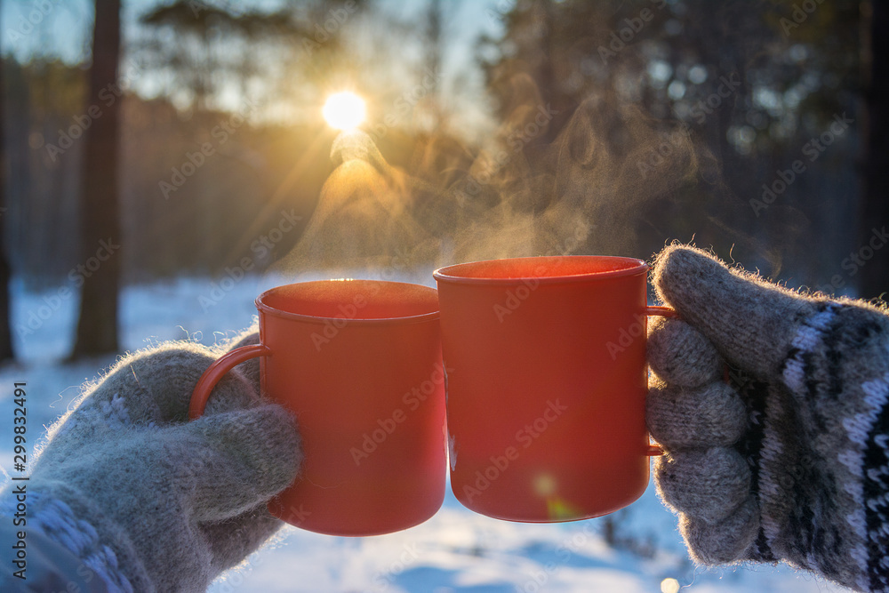 Fototapety, obrazy: young man and young woman in knitted wool mittens with mugs of hot drink on sunny frosty day on forest background