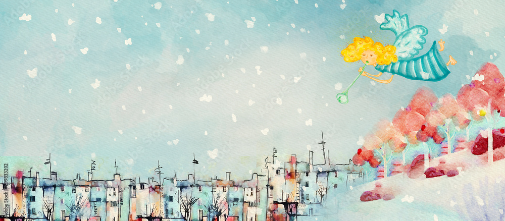 Fototapety, obrazy: Christmas angel. Watercolor banner
