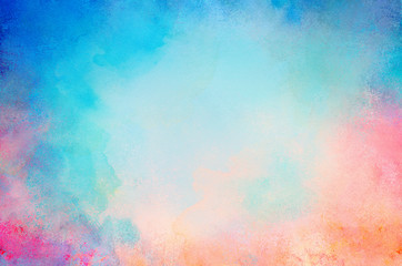 blue watercolor paint background design with colorful orange pink borders and bright center, watercolor bleed and fringe with vibrant distressed grunge texture