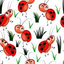 Seamless Pattern, Children's Drawing, Fabulous Ladybugs