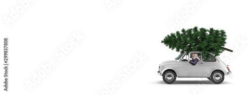 Fotomural  Kleines Auto mit Weihnachtsbaum auf dem Dach und einer Frau am Steuer