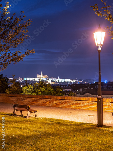 Prague evening. View of Prague Castle from Vysehrad fortification, Prague, Czech Republic Fototapete