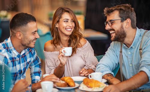 Fototapeta Group of friends having a coffee together obraz