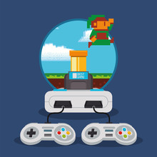 Video Game Pixelated Console A...