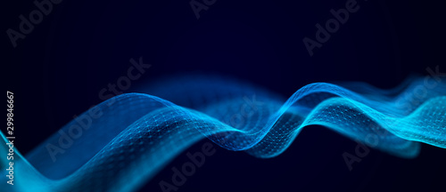 Fotobehang Fractal waves Wave of musical sounds. Abstract background with interweaving of dots and lines. 3D rendering.