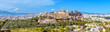 canvas print picture - Panorama of Athens with Acropolis hill, Greece. Famous old Acropolis is a top landmark of Athens. Landscape of the Athens city with classical Greek ruins. Scenic view of remains of ancient Athens.
