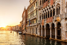 Venice At Sunset, Italy. Ca' D...