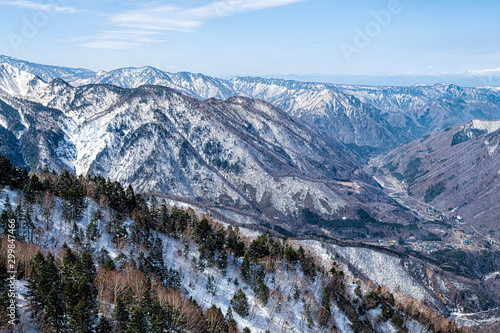 Takayama, Japan high angle aerial view in Shinhotaka Ropeway in Gifu Prefecture mountain park on spring day