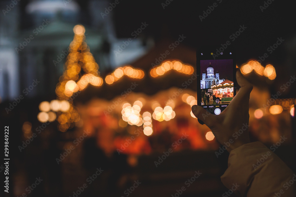 Fototapety, obrazy: Christmas decorations in the historical center streets of Helsinki, with evening light illumination, concept of Christmas in Finland, with Cathedral, market square, christmas tree