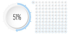 Set Of Circle Percentage Diagrams Meters From 0 To 100 Ready-to-use For Web Design, User Interface UI Or Infographic With 3D Concept - Indicator With Blue