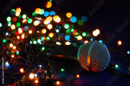 abstract background with lights with microphone - 299851693