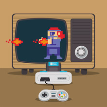 Video Game Pixelated Console And Old Tv
