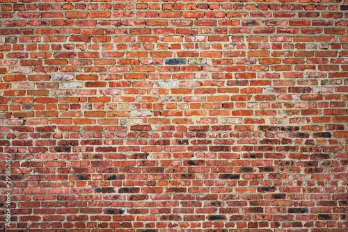 old red brick wall texture background Fototapet