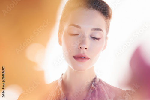 Fotobehang womenART Beautiful lady on white background