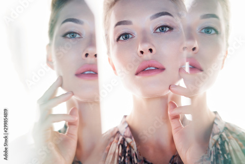 Foto op Canvas womenART Beautiful lady on white background
