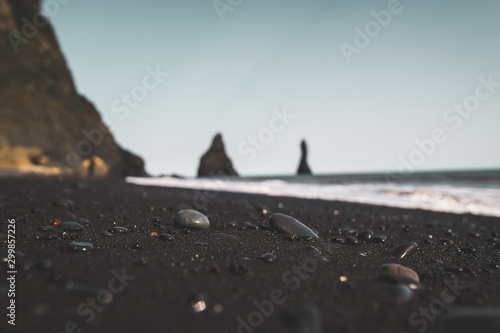 Foto auf Leinwand Rosa dunkel Reynisfjara Black Sand Beach, Iceland Ground Landscape