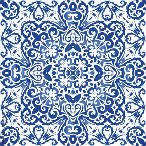 Portuguese ornamental azulejo ceramic.