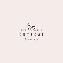 Cat Logo Hipster Retro Vintage Vector Icon Illustration Line Outline Monoline