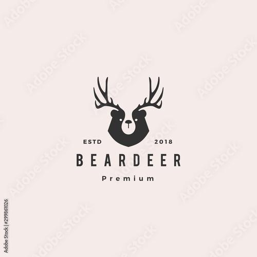 bear deer logo hipster retro vintage vector for branding or merchandise and t shirt design