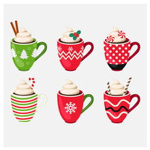 Set Of Winter Holiday Christmas Cup With Hot Drink. Vector Illustration