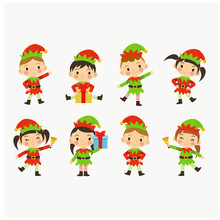 Collection Of Christmas Elves Isolate. Little Santa Helper. Young Lovely Cute Kids In Christmas Elf Costume.