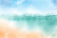 Watercolor Blurred Beach Seascape Background Digital Painting Vectors Illustration