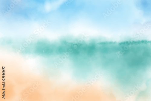 Fond de hotte en verre imprimé Bleu clair watercolor blurred beach seascape background digital painting vectors illustration