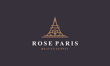 Line Art Rose Paris Logo Desig...