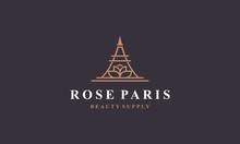 Line Art Rose Paris Logo Design Inspirations