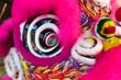 Leinwanddruck Bild - closeup lion head for lion dance
