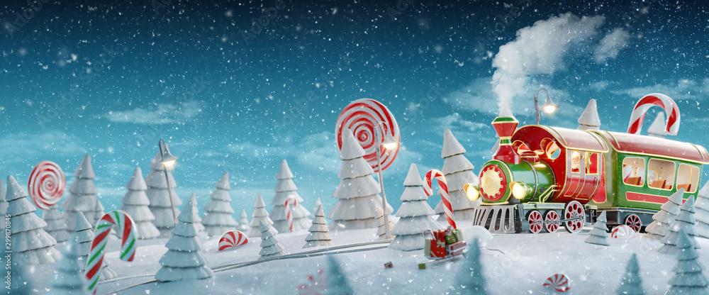 Fototapeta Santa's Christmas train