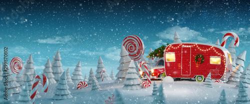 Obraz na plátně Santa's Christmas red camper