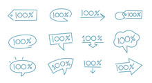 One Hundred Percent Icon Set. Blue Colour Line Bubble. 100 Percent Message. Absolute Quality. The Best Choice.